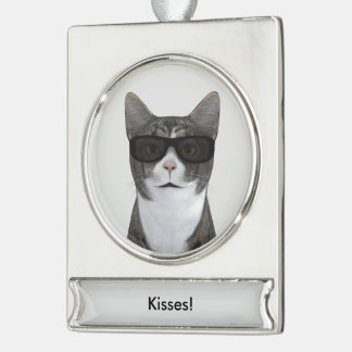 Cool Cat With Black Sunglasses Silver Plated Banner Ornament