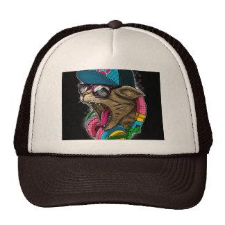 cool cat with headphones hat