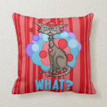 Cool Cat with Red Hat Throw Pillow