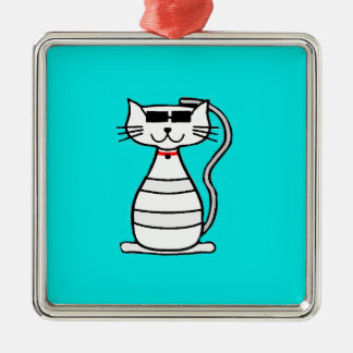 Cool Cat with sunglasses Square Metal Christmas Ornament