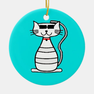 Cool Cat with sunglasses Double-Sided Ceramic Round Christmas Ornament