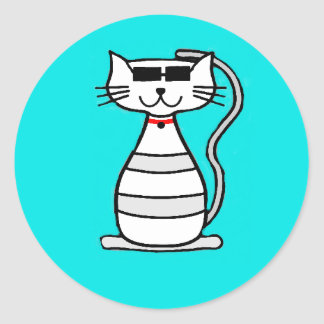 Cool Cat with sunglasses Classic Round Sticker