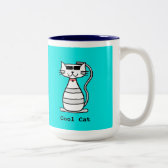 Cool Cat with sunglasses Two-Tone Coffee Mug
