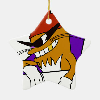 Cool Cat with the Roster Hat! Ceramic Ornament