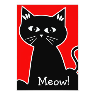 Cool Cats Birthday Party - Black Cartoon Cat Card