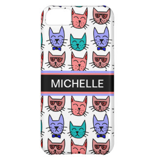 Cool Cats - Brown, Blue, Pumpkin, Teal Cover For iPhone 5C