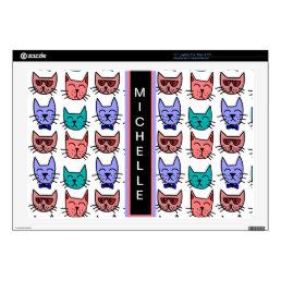 Cool Cats - Brown, Blue, Pumpkin, Teal Laptop Decals