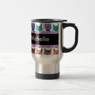 Cool Cats - Brown, Blue, Pumpkin, Teal Travel Mug