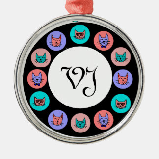 Cool Cats - Circle Round Metal Christmas Ornament