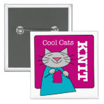 Cool Cats Knit Pinback Button