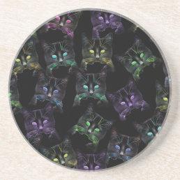 Cool Cats on Black! Multi-colored Cats Sandstone Coaster