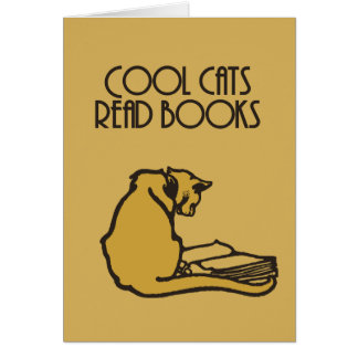 Cool cats read books retro style card