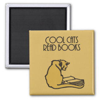 Cool cats read books retro style magnet