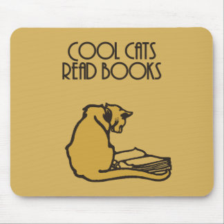 Cool cats read books retro style mouse pad