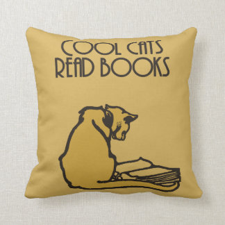 Cool cats read books retro style throw pillow
