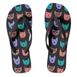 Cool Cats Sunglasses Bow Ties Black Custom Color Flip Flops