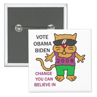 COOL CATS VOTE OBAMA PINBACK BUTTON