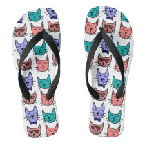 Cool Cats with sunglasses bow ties on Custom Color Flip Flops