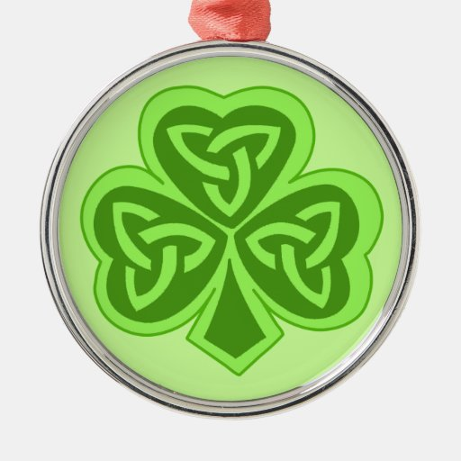 Cool Celtic Knot Shamrock Round Metal Christmas Ornament