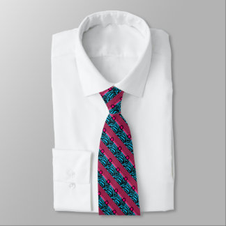 Cool Cerise And Blue Graphic  Art Tie
