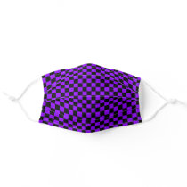 Cool Checkerboard Checker Pattern Black and Purple Adult Cloth Face Mask