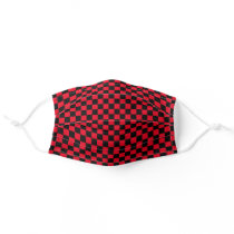 Cool Checkerboard Checker Pattern Black and Red Adult Cloth Face Mask