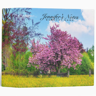 Cool Cherry Blossom Nature Landscape 3 Ring Binders