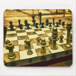Cool Chess Board with Nuts and Bolts Mouse Pad