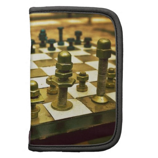 Cool Chess Board with Nuts and Bolts Folio Planner