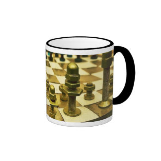 Cool Chess Board with Nuts and Bolts Ringer Mug