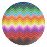 Cool Chevron Decorative Rainbow Zigzag Ornate Party Plates