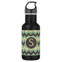 Cool Chevron Pattern Monogrammed Blue Stainless Steel Water Bottle