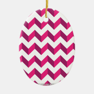 Cool Chevron Zig Zag Pink Christmas Tree Ornaments