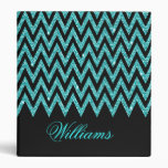Cool chevron zigzag peacock blue  faux glitter 3 ring binders