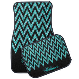 Cool chevron zigzag peacock blue  faux glitter car floor mat