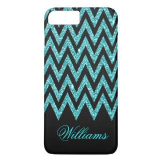 Cool chevron zigzag peacock blue  faux glitter iPhone 7 plus case