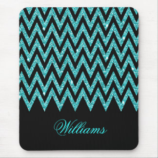 Cool chevron zigzag peacock blue  faux glitter mouse pad