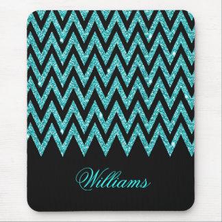 Cool chevron zigzag peacock blue  faux glitter mousepad