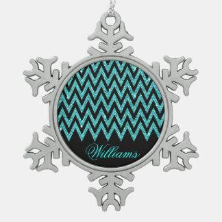 Cool chevron zigzag peacock blue  faux glitter ornament
