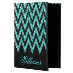 Cool chevron zigzag peacock blue  faux glitter powis iPad air 2 case