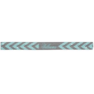 Cool chevron zigzag peacock blue  faux glitter hair ties