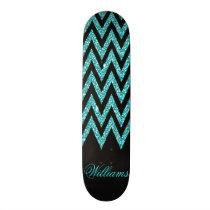 Cool chevron zigzag peacock blue  faux glitter skateboard deck