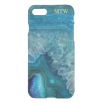 Cool Chic Blue Agate Geode Faux Gold Monogram iPhone 8/7 Case