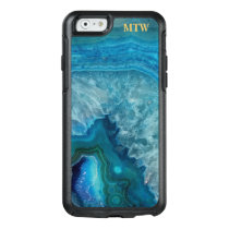Cool Chic Blue Agate Geode Faux Gold Monogram OtterBox iPhone 6/6s Case