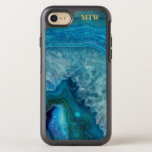 "Cool Chic Blue Agate Geode Faux Gold Monogram OtterBox Symmetry iPhone 8/7 Case<br><div class=""desc"">Protect your phone with this cool chic faux blue agate geode case.  with your monogrammed initials or name (or delete).  Perfect for the nature or precious gem lover.  Click on the Colorfulgalshop logo below to see more colorful cell phone cases.</div>"