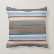 Cool Chic Brown Blue Watercolor Stripes Pattern Throw Pillow