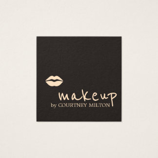 Cool Chic Dark Pale Pink Lips Makeup Artist Square Business Card