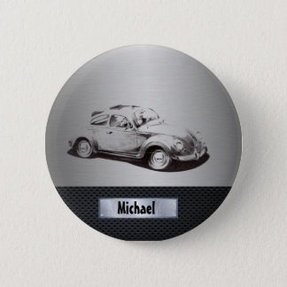 Cool chic masculine classy old car silvery black pinback button