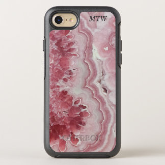 Cool Chic Pink Agate Faux Geode Gem Monogram OtterBox Symmetry iPhone 7 Case