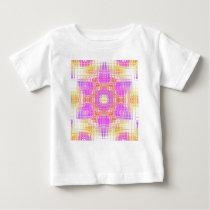 Cool Chic Pink Yellow Mosaic Pattern Baby T-Shirt